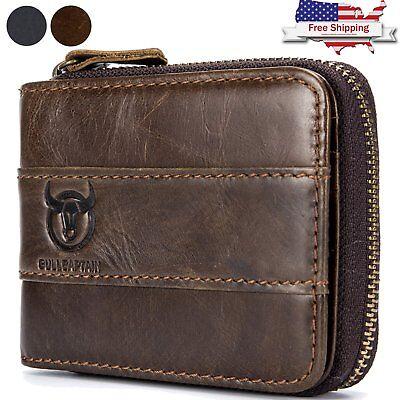 Genuine Leather Zipper (Mens Genuine Leather Wallet RFID Blocking Zip Around ID Card Window Bifold Purse )