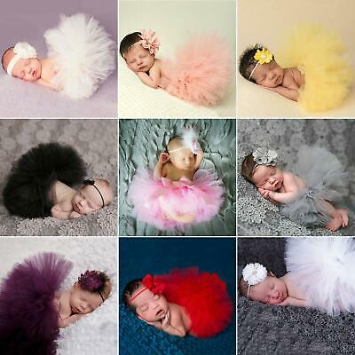 Toddler Newborn Baby Girl Tutu Skirt & Headband Photo Prop Costume Outfit Fine