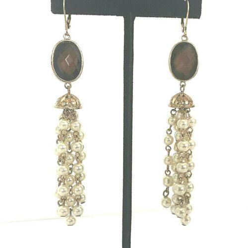 """Vintage Faux Pearl Tassel Drop Earrings Victorian Bohemian Gold Tone Long 4"""""""