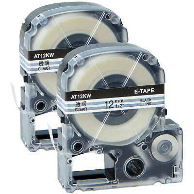 2 PK Black on Clear LC-4TBN 12mm Label Tape Compatible for LW400 LW600P LW900P