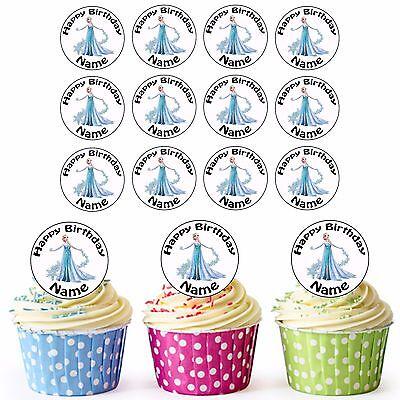 Disney Eiskönigin Elsa 24 Personalisiert Vorgeschnittene Essbare Cupcake Topper
