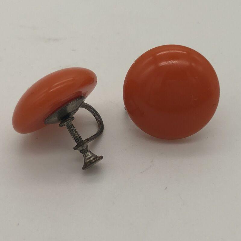 Vintage Orange Bakelite Button Screwback Earrings