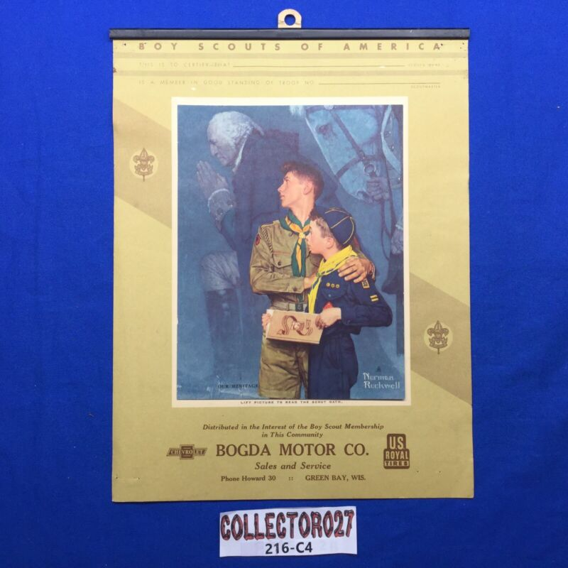 Boy Scout Norman Rockwell  Our Heritage Calendar Top Bogda Motor Co Green Bay Wi