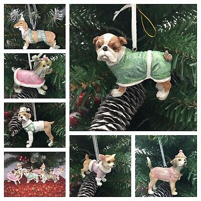 BEAUTIFUL DOG BREED CHRISTMAS DECORATIONS 4 ASSORTED BREEDS IN GLITTERY OUTFITS - Beautiful Christmas Outfits