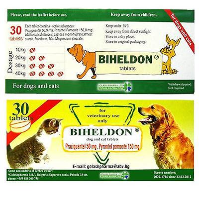 Biheldon Dog and Cat Puppy Wormer 30 tablets Broad Spectrum dewormer USA SELLER