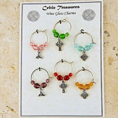 Wine glass charms Celtic knot trinity, Cross collection wedding party boxed gift Celtic Knot Glass Charm
