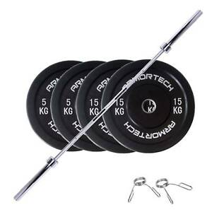 60KG Armortech Black V2 Bumper Plate and Bar Package