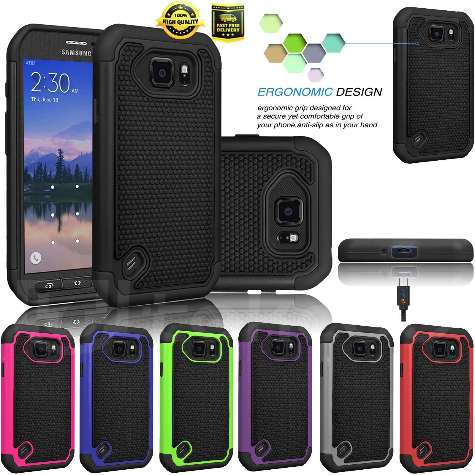 For Samsung Galaxy S6 Active/G890 Shockproof Rugged Combo Rubber Hard Case Cover