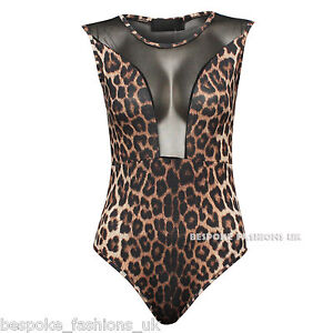 NEW LADIES MESH INSERT LEOTARD BODYSUIT WOMEN'S TOP
