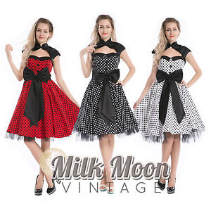 Vintage-1950s-60s-Swing-Rockabilly-Black-White-Red-Polka-Dot-Evening-Party-Dress