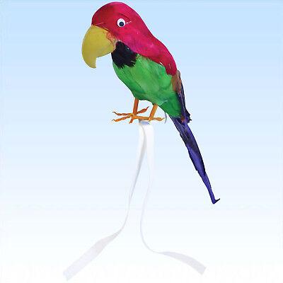 Papagei mit echten Federn ca 42cm Vogel für Piratenkostüm Hawai Südsee Papageien