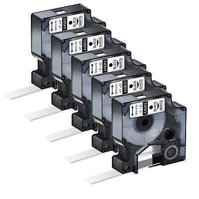5pk Black On White Label Tape For Dymo D1 45013 Labelmanager 12x23ft Standard