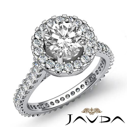 Shared Prong Round Shape Natural Diamond Engagement Cathedral Ring GIA F VS2 3Ct