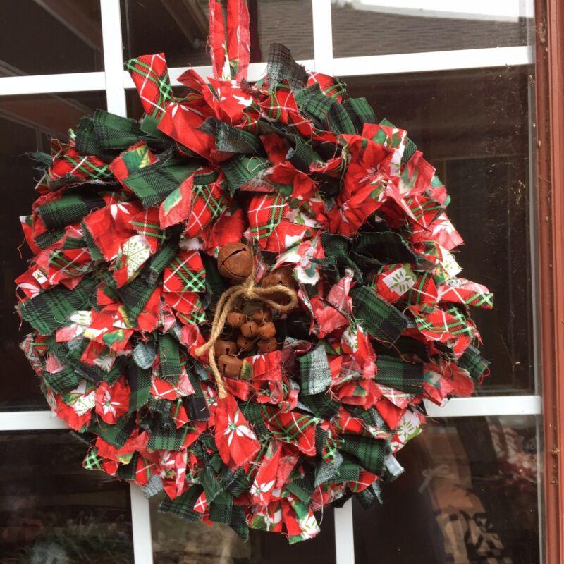 "HANDMADE 15"" CHRISTMAS RAG WREATH W/JINGLE BELLS-  RUSTIC PRIMITIVE COUNTRY"