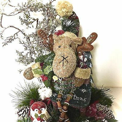 Moose Owl Christmas Table Disposition Centerpiece Custom Designed Winter Holiday