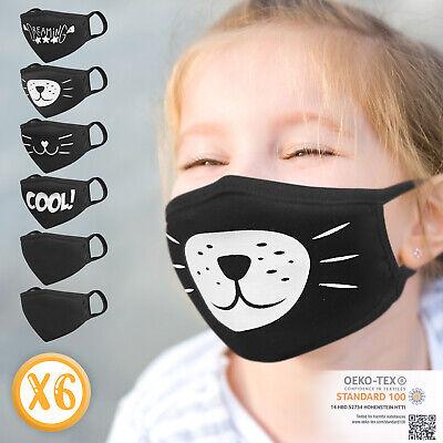 Jago® 6 x Kinder Stoffmaske Set Nasen Mundschutz Behelfs Gesichtsmaske Baumwolle