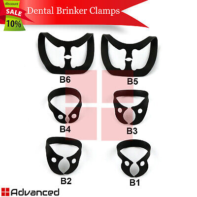 6pcs Dental Rubber Dam Brinker Clamps Tissue Retractors Molar Bicuspids Premolar