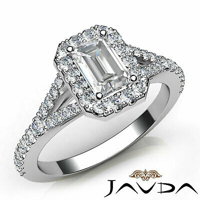 Halo Split Shank U Pave Set Emerald Shape Diamond Engagement Ring GIA H VS2 1Ct