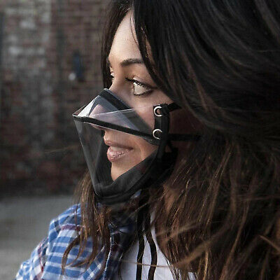 Klare Transparente Gesichtsschutzmaske Anti-Fog-Gesichtsbedeckung Schwarz