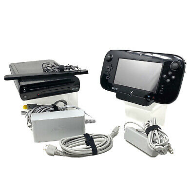Nintendo Wii U 32GB Black Console System Gamepad Tablet Tested w/ Cords