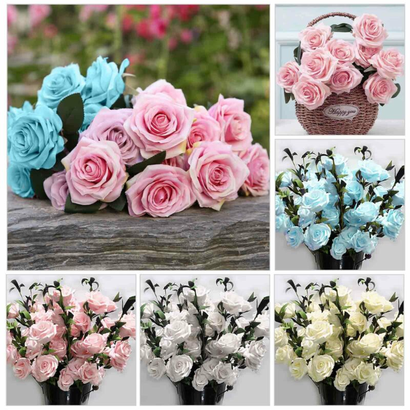 Home Decoration - 100Heads Silk Rose Artificial Flowers Fake Bouquet Buch Wedding Home Party Decor