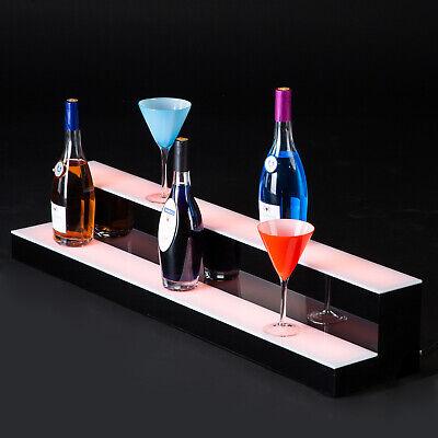 40 Led Lighted Back Bar Glowing Liquor Bottle Display Shelf Glowing 2 Step Tier