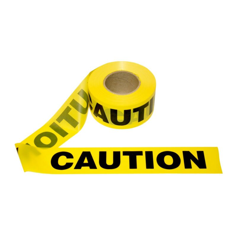 """T15101-12 Rolls Yellow CAUTION Barrier Tape 1.5 MIL 3""""X1000"""