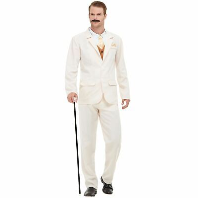 Adults White 1920 Gent Roaring 20's Fancy Dress Costume Gatsby Party Suit Men's](Roaring 20's Men's Attire)