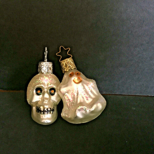 INGE GLAS Glass Halloween Ornament Ghost & Skeleton Made in Germany Set of 2