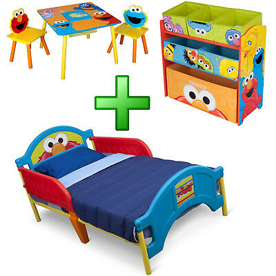 - Boy Bedroom Furniture Set Toy Organizer Kid Child Toddler Bed Table Chairs New