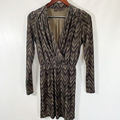 Hazel Size XS Dress V Neck Long Sleeve Midi A Line Olive Green Print