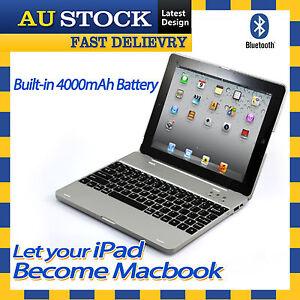 iPad 2 3 4 New iPad Flip Wireless Recharge Bluetooth Keyboard Case Cover Silver
