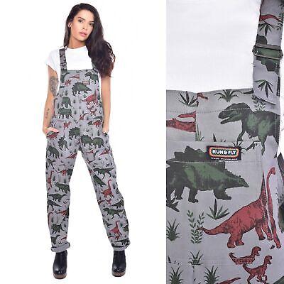 Run and Fly Jurassic Dinosaur Print Cotton Twill Dungarees Jumpsuit 8 10 12 14 1