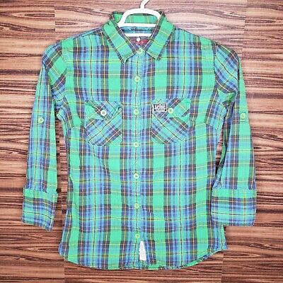 Superdry Womens Medium Green Plaid Button Front Shirt 3/4 Sleeve Roll Tab