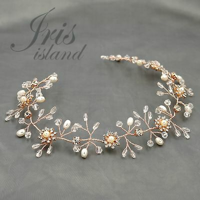 Crystal Pearl Flower Headband Headpiece Tiara Wedding Accessory 04118 ROSE GOLD