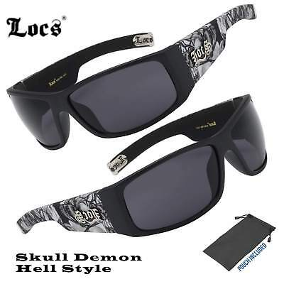 Mens Locs Hardcore Matte Black Biker Skull Hell Demon Cholo Lowrider (Locs Mens Cholo Biker Sunglasses)