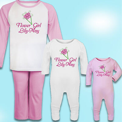 Personalised Flower Girl Gift Embroidered 100% Cotton Pyjamas - Flowergirl Gift (Flower Girl Pajamas)