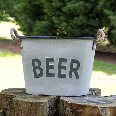 Retro Vintage Large Metal Beer Bucket Bottle Cooler Ice Wine Champagne Garden