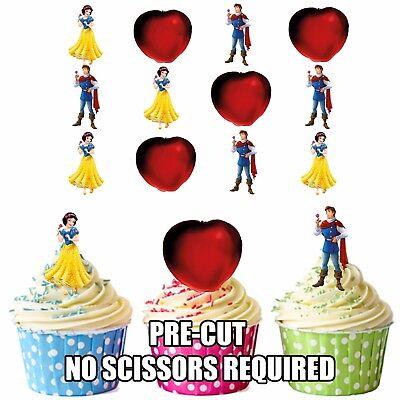 Vorgeschnitten Schneewittchen 12 Essbare Cupcake Topper Party - Schneewittchen Party Dekorationen
