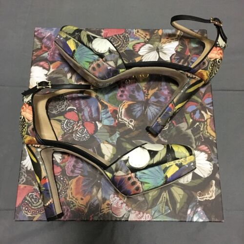 Valentino Garavani Camubutterfly Camo Multi Color Stud Heels Shoes Italy Size 39