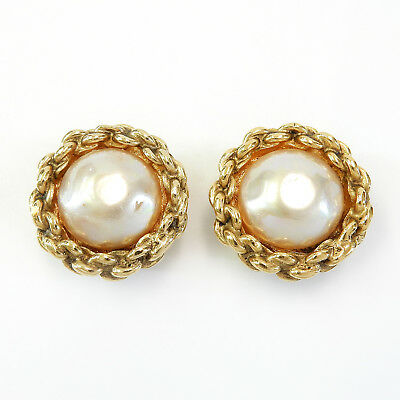 CHANEL Gold Plated CC Imitation Pearl Vintage Clip Earrings #1999a Rise-on