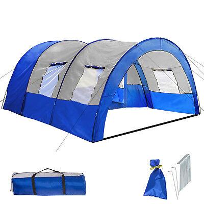 XXL Tenda Campeggio 4 - 6 Persone Posti Tendone Camping Famiglia Blu Grigio