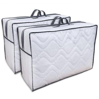 Bett-tasche (Aufbewahrungstasche 2 Stück Tragetasche für Bettdecken, Kopfkissen und Kissen)