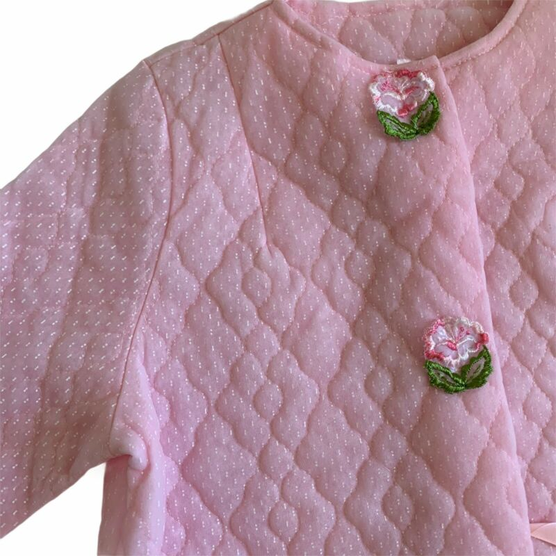 Vintage Girls Quilted Pink Bath Robe Size 14 Made In USA Snap Front Pocket