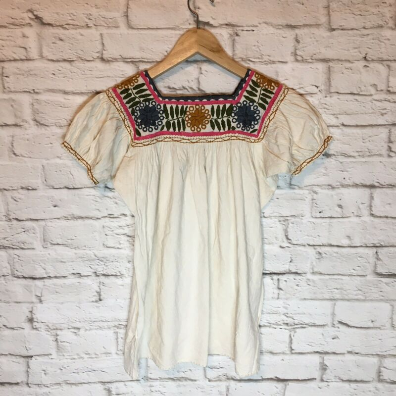 Handmade Womens Embroidered Mexican Blouse Bohemian Off White Light Beige Medium