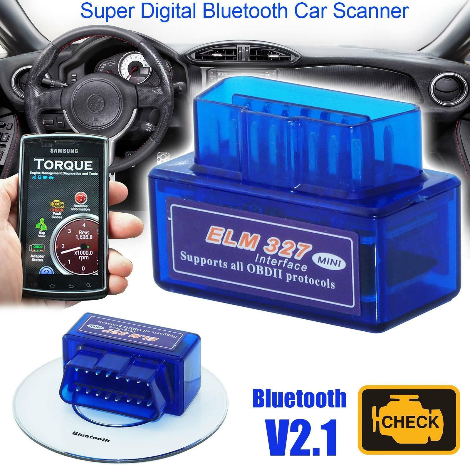 Mini ELM327 V2.1 Bluetooth OBD2 Scanner Code Reader Auto Diagnostic Tool
