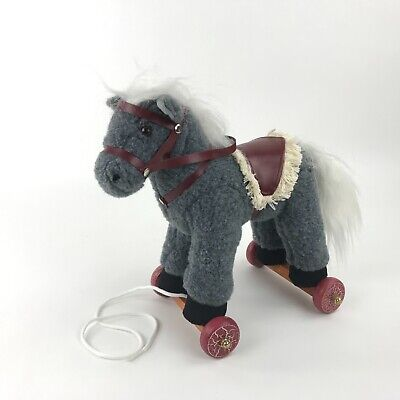 Breyer Horse Plush Horse on Wheels Pull Toy Grey w White Mane Saddle Reins