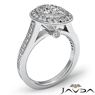1.5 ct Brilliant Cut Oval Diamond Engagement 14k White Gold I SI1 GIA Halo Ring 1
