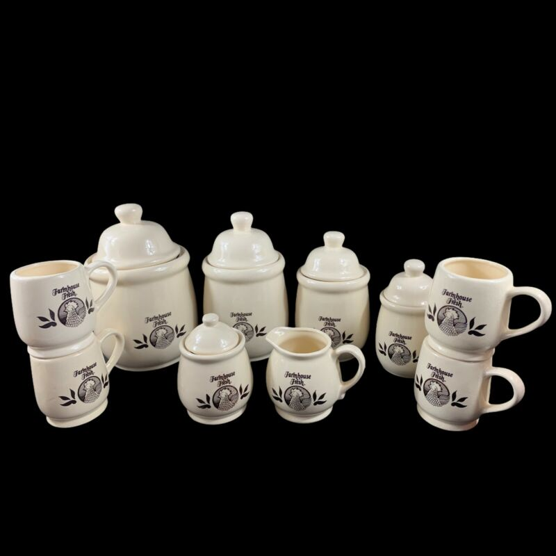 10 Piece Ceramic Canister Kitchen Set Cream Farmhouse Fresh Rooster