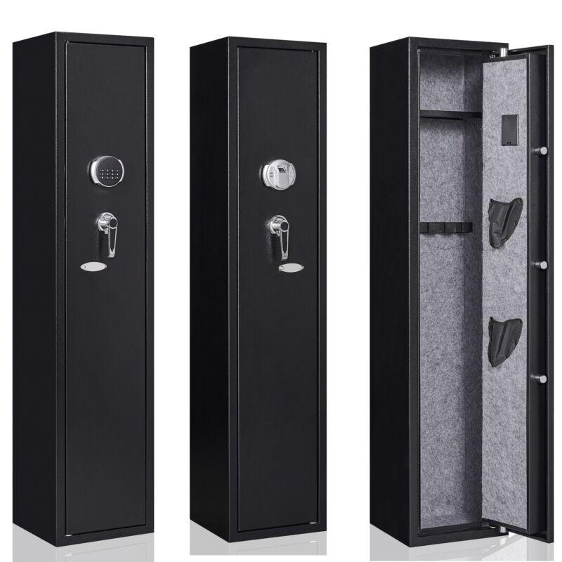5 Gun Rifle Storage Wall Safe Box Security Cabinet Electronic Dual Lock Shelf